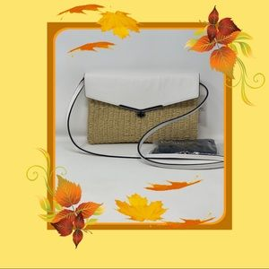 Botkier Beach Woven/Leather Trim Crossbody Bag